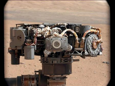 In this image taken by Curiosity's Mast Camera, the Alpha Particle X-Ray Spectrometer (APXS) on NASA's Curiosity rover is pictured, with the Martian landscape in the background on the 32nd Martian day, or sol, of operations on the surface on September 7, 2012, PDT or September 8, 2012, UTC. REUTERS/NASA/JPL-Caltech/MSSS/Handout