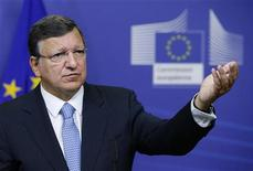 European Commission President Jose Manuel Barroso addresses a news conference after meeting Egypt's President Mohamed Mursi (unseen) at the EU Commission headquarters in Brussels September 13, 2012. REUTERS/Francois Lenoir