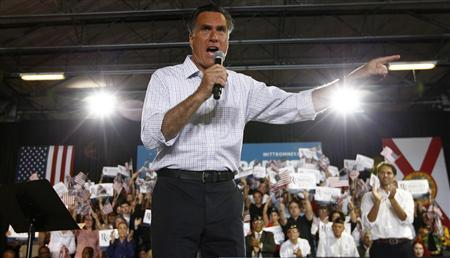 U.S. Republican presidential nominee and former Massachusetts Governor Mitt Romney speaks at a campaign rally in Miami, Florida, September 19, 2012. REUTERS/Jim Young