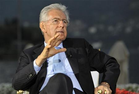 Italy's Prime Minister Mario Monti gestures during an interview at the Ambrosetti workshop, an economic conference, in Cernobbio, next to Como, September 8, 2012. REUTERS/Paolo Bona