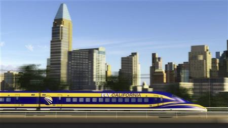 An artist's rendition courtesy of the California High-Speed Rail Authority shows a high speed train passing through Sacramento, California. REUTERS/California High-Speed Rail Authority/Handout