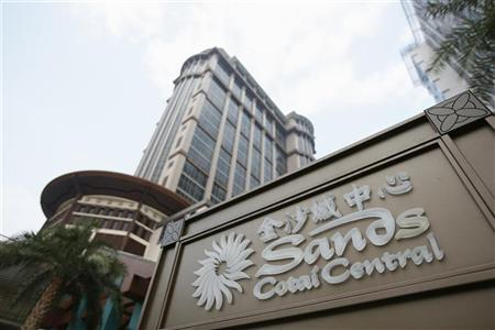 The Sands Cotai Central logo is seen in front of its hotel in Macau September 20, 2012. REUTERS/Tyrone Siu