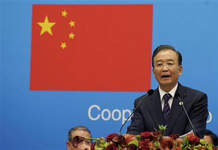 China's Premier Wen Jiabao make a speech during the European Union-China summit at the Egmont Palace in Brussels September 20, 2012. REUTERS/Laurent Dubrule