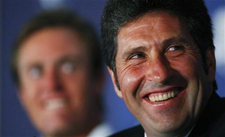 Europe's Ryder Cup team captain Jose Maria Olazabal laughs during the 2012 European Ryder Cup team announcement news conference at the Gleneagles Hotel in Scotland, August 27, 2012.