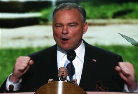 US senatorial candidate and former Virginia Governor Tim Kaine addresses the first session of the Democratic National Convention in Charlotte, North Carolina, September 4, 2012. REUTERS/Jim Young