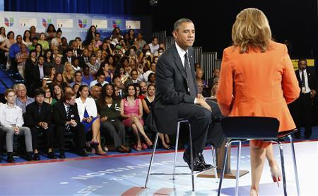 U.S. President Barack Obama and co-anchor Maria Elena Salinas (R) takes part in a town hall hosted by Univision at the University of Miami in Coral Gables, Florida September 20, 2012. REUTERS/Kevin Lamarque