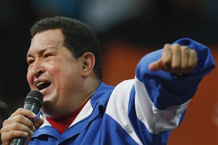Venezuelan President and presidential candidate Hugo Chavez speaks at a campaign rally with Socialist party youth in Caracas September 19, 2012. REUTERS/Jorge Silva