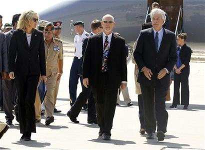 U.S. Deputy Secretary of State William Burns (R) arrives in Tripoli September 20, 2012. Burns arrived in Tripoli on Thursday, a week after a deadly attack on the U.S. consulate in the eastern Libyan city of Benghazi. Burns flew into the Libyan capital where he was due to meet new Prime Minister Mustafa Abu Shagour and Mohammed Magarief, head of the national congress, Libyan government officials said. REUTERS/Anis Mili