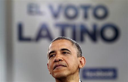 U.S. President Barack Obama takes part in a town hall hosted by Univision at the University of Miami in Coral Gables, Florida September 20, 2012. The sign above Obama reads 'The Latino Vote.' REUTERS/Kevin Lamarque