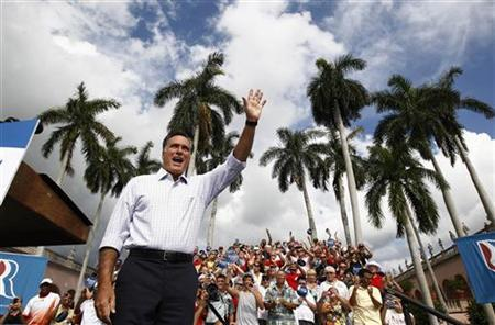 U.S. Republican presidential nominee and former Massachusetts Governor Mitt Romney arrives at a campaign rally in Sarasota, Florida, September 20, 2012. REUTERS/Jim Young