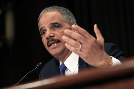 U.S. Attorney General Eric Holder testifies during a hearing on the ''Oversight of the Justice Department'' held by the Senate Judiciary Committee on Capitol Hill in Washington November 8, 2011. REUTERS/Kevin Lamarque
