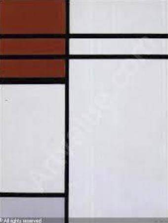 The oil painting titled ''Composition (A) En Rouge Et Blanc'' by artist Piet Mondrian is pictured, in this handout photograph released by the Santa Monica Police Department September 20, 2012. REUTERS/Santa Monica Police Department/Handout