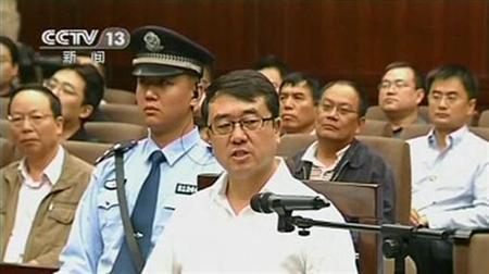 Former police chief Wang Lijun speaks during a court hearing in Chengdu in this still image taken from video September 18, 2012. REUTERS/CCTV via Reuters TV