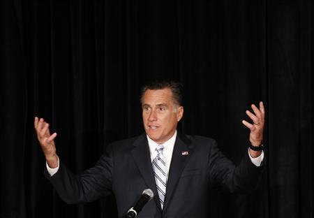 U.S. Republican presidential nominee and former Massachusetts Governor Mitt Romney speaks at a campaign fundraising event in Sarasota, Florida, September 20, 2012. REUTERS/Jim Young