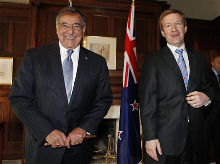 U.S. Secretary of Defense Leon Panetta (L) smiles next to New Zealand's Minister of Defence Jonathan Coleman at the Government House in Auckland September 21, 2012. REUTERS/Larry Downing