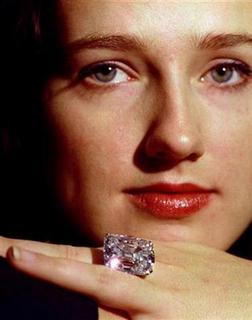 Therese Lindvist of Christie's auction rooms displays the Archduke Joseph Diamond November 3. REUTERS/Simon Kreitem/Files