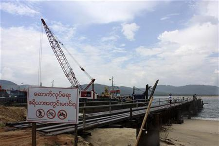 A small port is built for temporary use at a site for a billion dollar industrial estate in Dawei district in Myanmar May10 , 2012. REUTERS/Khettiya Jittapong