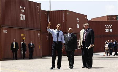 U.S. President Barack Obama tours the Port of Tampa in Florida, April 13, 2012. During his visit to the Port of Tampa - a gateway for U.S. exports to Mexico, Brazil and Argentina - Obama made his his election-year case for closer economic engagement with Latin America. REUTERS/Kevin Lamarque