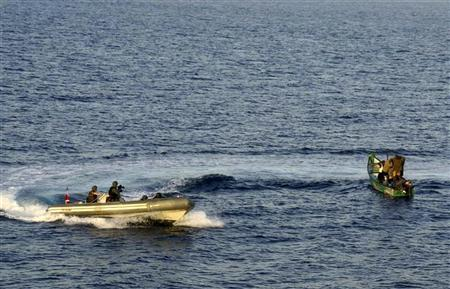 Marines from NATO's Turkish frigate Gediz (L) arrest suspected pirates in their skiff in the Gulf of Aden September 26, 2009. REUTERS/Turkish Chief of Staff/Handout