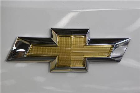 The Chevrolet car logo is seen on a car at the General Motors plant in Asaka August 30, 2012. REUTERS/Shamil Zhumatov