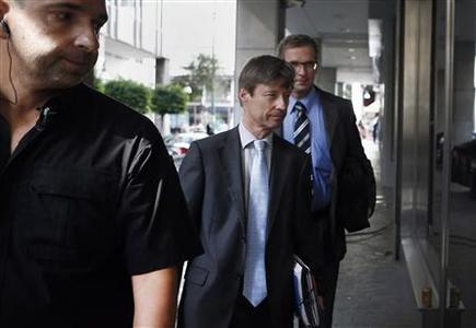 European Commission Director Matthias Morse (C) arrives at the Finance Ministry for a meeting with Greek Finance Minister Yannis Stournaras in Athens September 21, 2012. REUTERS/Yorgos Karahalis