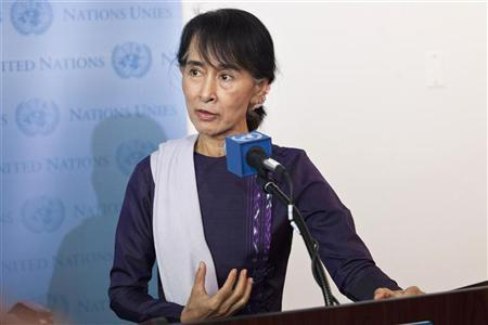 Aung San Suu Kyi, chairperson of Myanmar's National League for Democracy, speaks at a joint media conference with United Nations Secretary General Ban Ki-Moon at the United Nations in New York, September 21, 2012. REUTERS/Andrew Burton