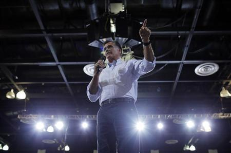 Republican presidential candidate and former Massachusetts Governor Mitt Romney speaks at a campaign rally in Las Vegas, Nevada September 21, 2012. REUTERS/Brian Snyder