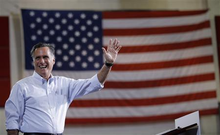 Republican presidential candidate and former Massachusetts Governor Mitt Romney takes the stage at a campaign rally in Las Vegas, Nevada September 21, 2012. REUTERS/Brian Snyder