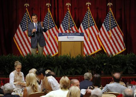 Republican presidential candidate and former Massachusetts Governor Mitt Romney speaks at a campaign fundraiser in Del Mar, California September 22, 2012. REUTERS/Brian Snyder