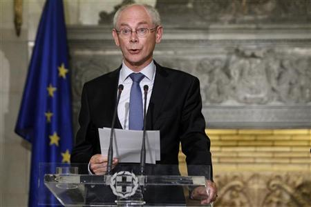 Visiting European Council chairman Rompuy addresses reporters during a news conference in Athens September 7, 2012. REUTERS/John Kolesidis