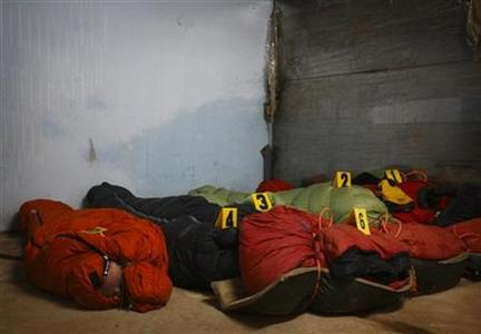 Bodies of foreign tourists recovered from the avalanche at Mount Manaslu are kept at the Tribhuvan University Teaching Hospital for post-mortem examination in Kathmandu September 24, 2012. REUTERS/Navesh Chitrakar