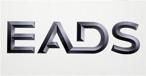Logo of EADS is seen at the European aerospace and defence group EADS headquarters in Les Mureaux near Paris January 12, 2011. REUTERS/Charles Platiau (FRANCE - Tags: TRANSPORT BUSINESS MILITARY)