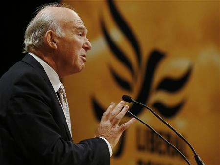 Britain's Business Secretary Vince Cable speaks during the Liberal Democrats annual conference in Brighton, southern England September 24, 2012. REUTERS/Luke MacGregor