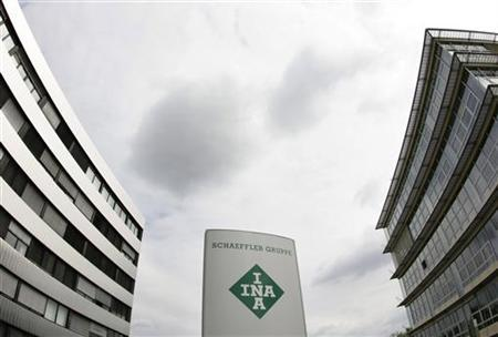 The logo of Schaeffler Group the world's second largest ball-bearing maker and INA a brand of the company is pictured outside the headquarters in Herzogenaurach July 16, 2008. REUTERS/Michaela Rehle