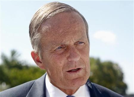 U.S. Senate candidate Todd Akin speaks to the media after a rally outside the Missouri Capitol with the New Women's Group in Jefferson City, Missouri September 21, 2012. REUTERS/Sarah Conard