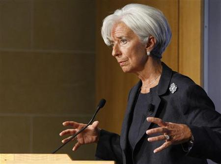 International Monetary Fund Managing Director Christine Lagarde delivers remarks on the state of the world economy at the Peterson Institute for International Economics in Washington, September 24, 2012. REUTERS/Jonathan Ernst