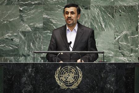 Iran's President Mahmoud Ahmadinejad addresses diplomats during the high-level meeting of the General Assembly on the Rule of Law at the United Nations headquarters in New York September 24, 2012. REUTERS/Eduardo Munoz