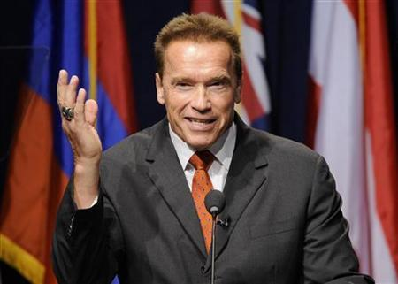 Former California Governor Arnold Schwarzenegger makes opening remarks during the University of Southern California's Schwarzenegger Institute for State and Global Policy inaugural Symposium in Los Angeles, California September 24, 2012. REUTERS/Gus Ruelas