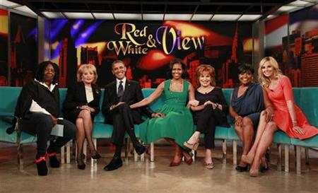 U.S. President Barack Obama and first lady Michelle Obama take part in a taping of the ''The View'' chat show at ABC's studios in New York, September 24, 2012. Also pictured are show hosts Whoopi Goldberg (L), Barbara Walters (2nd L), Joy Behar (3rd R), Sherri Shepherd (2nd R), and Elizabeth Hasselbeck. REUTERS/Jason Reed