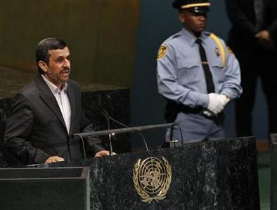Iran's President Mahmoud Ahmadinejad speaks during the high-level meeting of the General Assembly on the Rule of Law at the United Nations headquarters in New York September 24, 2012. REUTERS/Shannon Stapleton