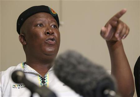 Expelled African National Congress Youth League (ANCYL) President Julius Malema addresses a media conference in Johannesburg September 18, 2012. REUTERS/Jordi Matas