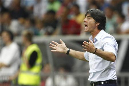 Germany's coach Joachim Loew reacts during their friendly soccer match against Argentina in Frankfurt August 15, 2012. REUTERS/Alex Domanski