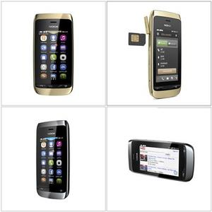 A combination of undated handout photo obtained from the Nokia website shows the new Nokia Asha 308 mobile phone. Troubled cellphone maker Nokia unveiled two new affordable touch-screen cellphone models September 25, 2012, to defend its mass market position while it struggles to compete in high-end smartphones. REUTERS/Nokia/Handout