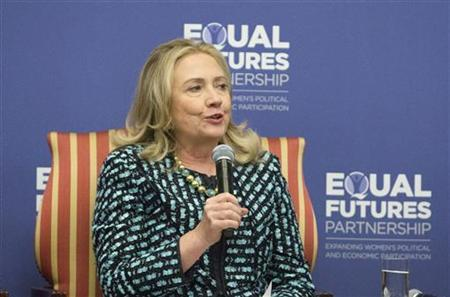 U.S. Secretary of State Hillary Clinton speaks during the launch of the Equal Futures Partnership at the InterContinental Hotel in New York September 24, 2012. REUTERS/Andrew Kelly