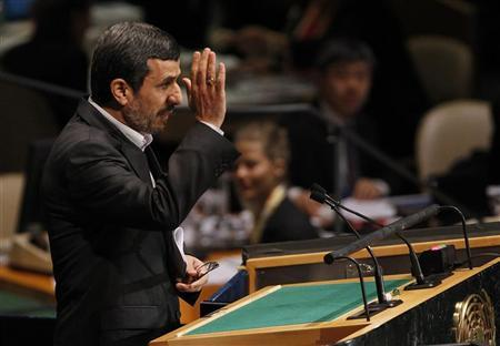 Iran's President Mahmoud Ahmadinejad gestures after speaking during the high-level meeting of the General Assembly on the Rule of Law at the United Nations headquarters in New York September 24, 2012. REUTERS/Shannon Stapleton