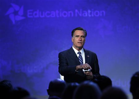 Republican presidential candidate and former Massachusetts Governor Mitt Romney addresses the NBC Education Nation Summit in New York September 25, 2012. REUTERS/Brian Snyder