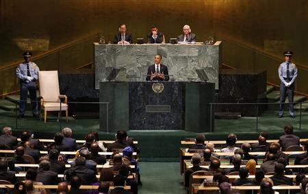 U.S. President Barack Obama addresses the 67th United Nations General Assembly at the U.N. headquarters in New York September 25, 2012. REUTERS/Mike Segar