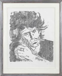 A Keith Richards portrait drawn and signed by Rolling Stones member Ronnie Wood is shown in this undated publicity handout photo received by Reuters September 25, 2012. REUTERS/Courtesy Juliens's Auctions/Handot