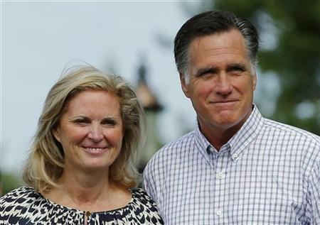 U.S. Republican presidential candidate and former Massachusetts Governor Mitt Romney and his wife Ann leave Brewster Academy in Wolfeboro, New Hampshire August 27, 2012 after preparing their speeches for the Republican National Convention. REUTERS/Brian Snyder