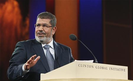 Egyptian President Mohamed Mursi speaks during the final day of the Clinton Global Initiative 2012 (CGI) in New York September 25, 2012. The CGI was created by former U.S. President Bill Clinton in 2005 to gather global leaders to discuss solutions to the world's problems. REUTERS/Lucas Jackson